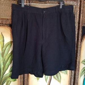 Perry ellis black linen shorts
